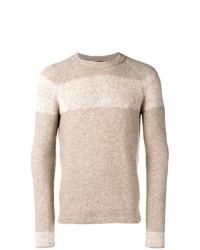 Мужской бежевый свитер с круглым вырезом в горизонтальную полоску от Roberto Collina