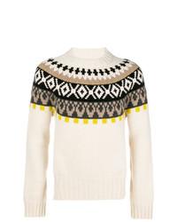 Бежевый свитер с круглым вырезом с жаккардовым узором