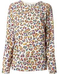 Бежевый свитер с круглым вырезом с леопардовым принтом