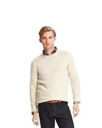 Бежевый свитер с круглым вырезом с принтом