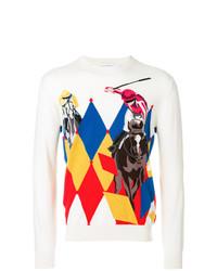 Мужской бежевый свитер с круглым вырезом с принтом от Ballantyne