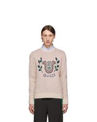 Мужской бежевый свитер с круглым вырезом с принтом от Gucci