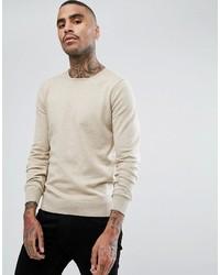 Мужской бежевый свитер с круглым вырезом