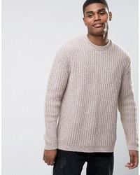 Мужской бежевый свитер с круглым вырезом от Asos