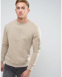 Мужской бежевый свитер с круглым вырезом от Brave Soul