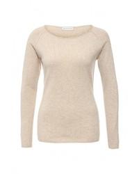 Женский бежевый свитер с круглым вырезом от Delicate Love