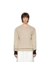 Мужской бежевый свитер с круглым вырезом от Random Identities