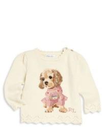 Бежевый свитер с принтом