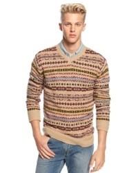 Бежевый свитер с v-образным вырезом с жаккардовым узором