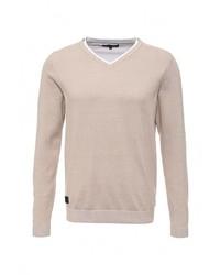 Мужской бежевый свитер с v-образным вырезом от Top Secret