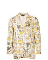 Мужской бежевый хлопковый пиджак с принтом от Comme Des Garçons Vintage