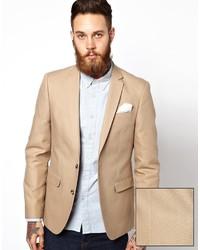 Мужской бежевый хлопковый пиджак от Asos