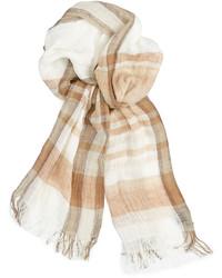 Бежевый шарф в шотландскую клетку