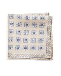 Бежевый шелковый нагрудный платок с принтом