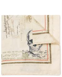 Мужской бежевый шелковый нагрудный платок с принтом от Alexander McQueen