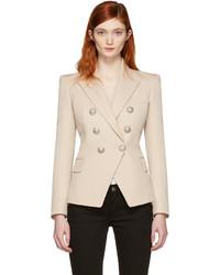 Женский бежевый шерстяной двубортный пиджак от Balmain