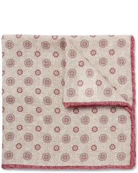 Бежевый шерстяной нагрудный платок с принтом от Brunello Cucinelli