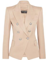 Женский бежевый шерстяной пиджак от Balmain