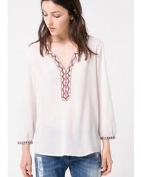Белая блуза-крестьянка с вышивкой