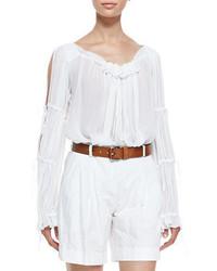 Белая блуза-крестьянка с рюшами