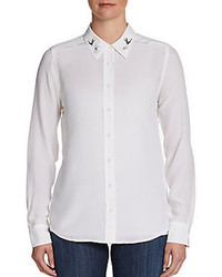 Белая блуза на пуговицах с вышивкой