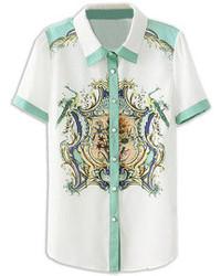 Белая блуза на пуговицах с цветочным принтом