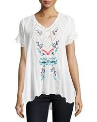 Белая блуза с коротким рукавом с вышивкой