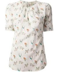 Белая блуза с коротким рукавом с принтом