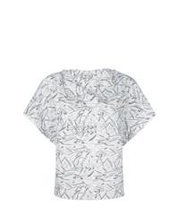 Белая блуза с коротким рукавом с принтом от Chalayan