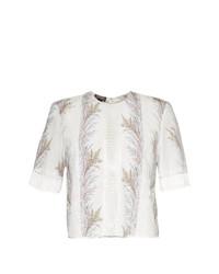 Белая блуза с коротким рукавом с принтом от Giambattista Valli