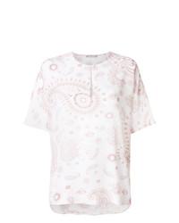 Белая блуза с коротким рукавом с принтом от Hemisphere