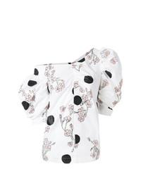 Белая блуза с коротким рукавом с принтом от Isa Arfen