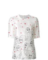 Белая блуза с коротким рукавом с принтом от Victoria Victoria Beckham