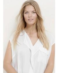 Белая блуза с коротким рукавом с рюшами