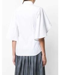 Белая блуза с коротким рукавом с рюшами от Mantu