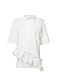 Белая блуза с коротким рукавом с рюшами от Marni