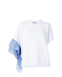 Белая блуза с коротким рукавом с рюшами от MSGM