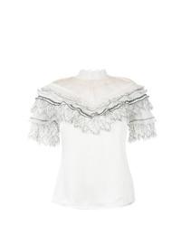 Белая блуза с коротким рукавом с рюшами от Self-Portrait