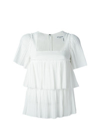 Белая блуза с коротким рукавом с рюшами от Sonia Rykiel