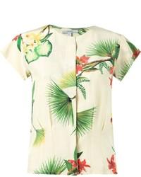 Белая блуза с коротким рукавом с цветочным принтом