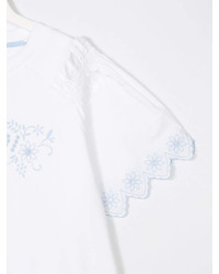 Детская белая блуза с коротким рукавом для девочке от Fendi