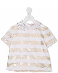 Детская белая блуза с коротким рукавом для девочке от Miss Blumarine