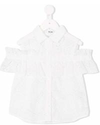 Детская белая блуза с коротким рукавом для девочке от MSGM