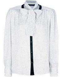 Белая блузка с длинным рукавом в горошек
