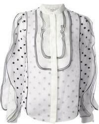Белая блузка с длинным рукавом в горошек от Chloé
