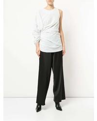 Белая блузка с длинным рукавом в горошек от CHRISTOPHER ESBER