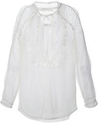 Белая блузка с длинным рукавом в крупную сеточку от Chloé