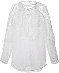 Белая блузка с длинным рукавом в сеточку от Chloé