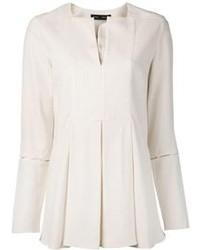 Белая блузка с длинным рукавом с вырезом от Proenza Schouler