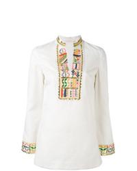 Белая блузка с длинным рукавом с вышивкой от Tory Burch